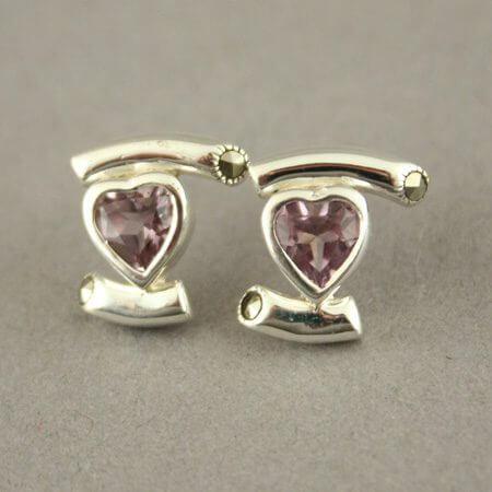 Boucles d'oreilles coeur argent 925 alessia rose