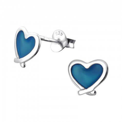 Boucle d'Oreille Enfant Coeur Bleu
