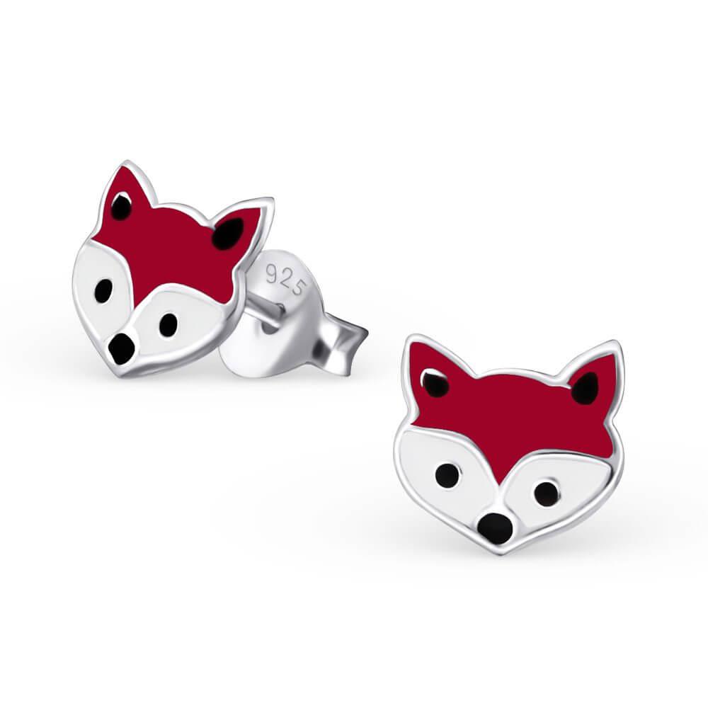 Boucles d'oreilles pour petite fille renard en argent