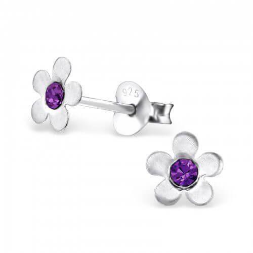 Boucle d'oreille enfant fleur argent et cristal améthyste