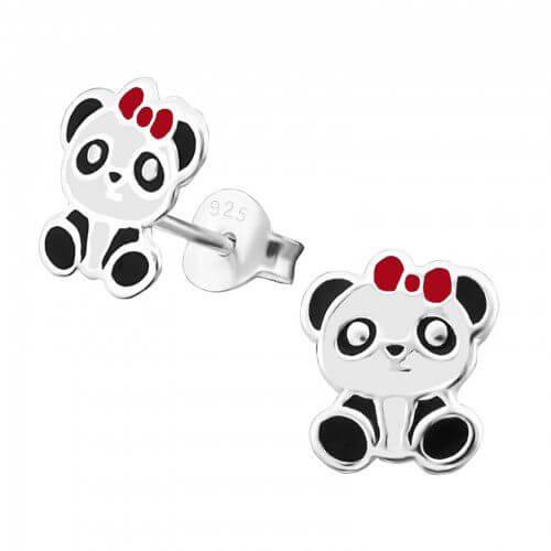 Boucles d'oreilles enfant Panda avec nœud rouge