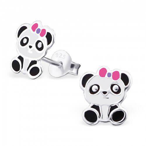 Boucle d'oreille pour petite fille Panda avec nœud rose