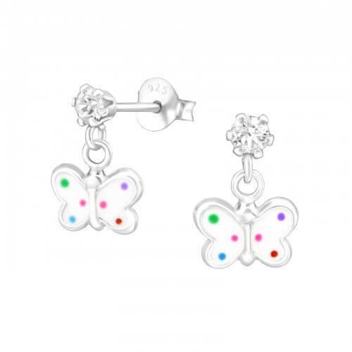 Boucles d'oreilles enfant Papillon Argent Multicolore et cristal Swarovski