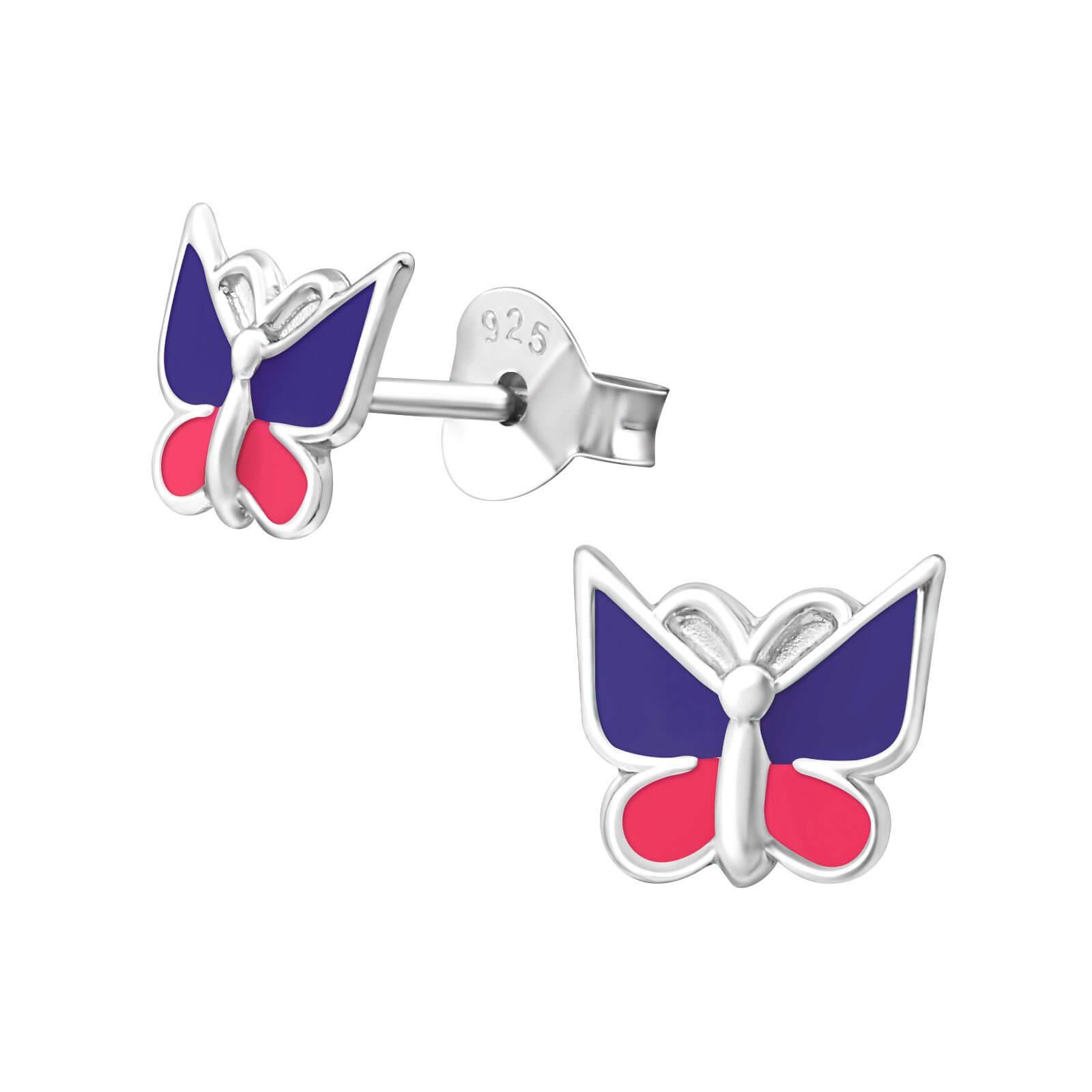 Boucle d'oreille enfant argent papillon violet et rose