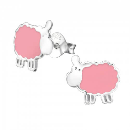 Boucles d'oreilles enfant argent petit mouton rose
