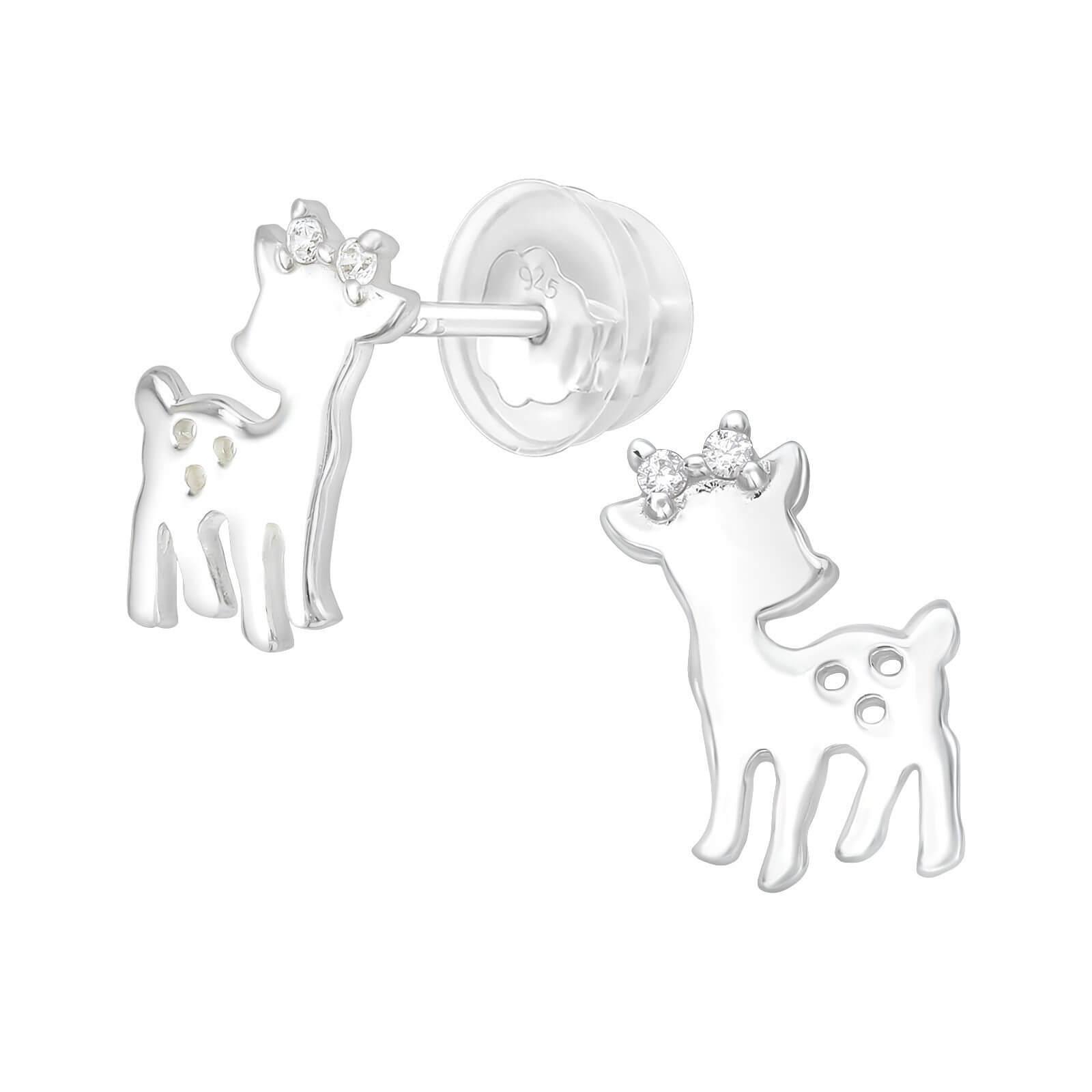Boucle d'oreille Bambi en Argent et strass